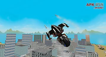 Flying police motorcycle rider
