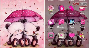 Cute pink bear love theme