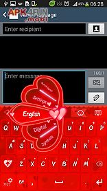 go keyboard red hearts theme