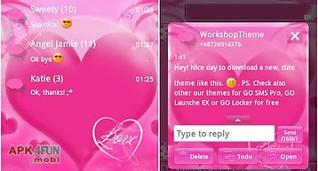 Go sms pro theme pink love
